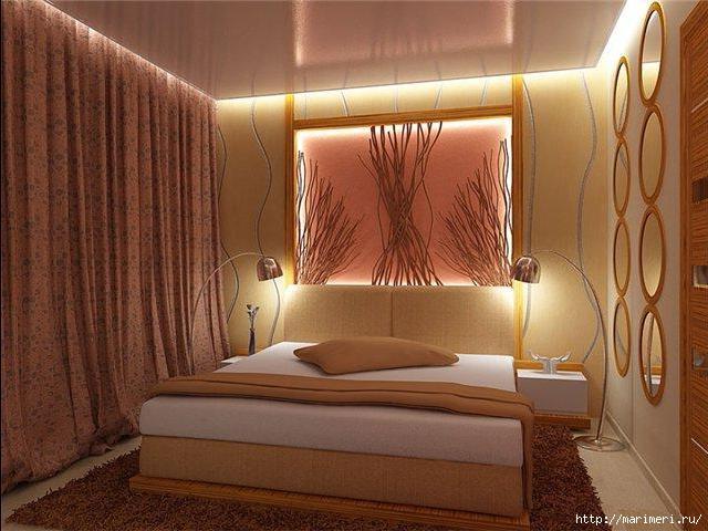 Более сложные варианты украшения стен в спальне, это конечно же, роспись стены, например, в стиле древнего Египта...