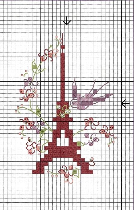 Схема для вышивки эйфелевая башня