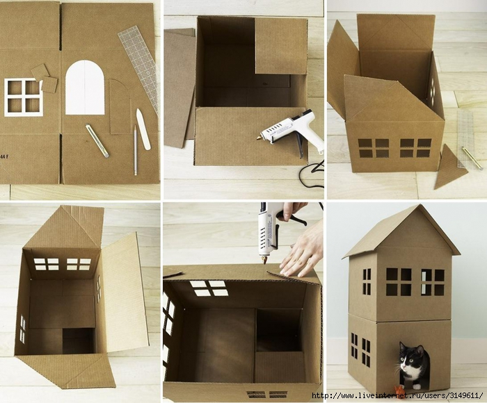 Домик для котенка из коробки своими руками фото