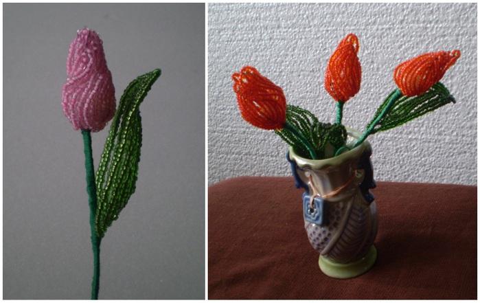Букет тюльпанов из бисера - Делаем фенечки своими руками.
