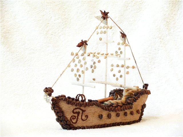 Корабль из кофе и шпагата своими руками