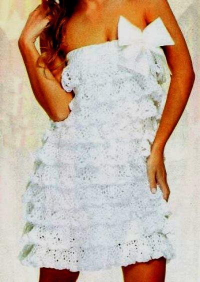 Платье с рюшами для женщин крючком