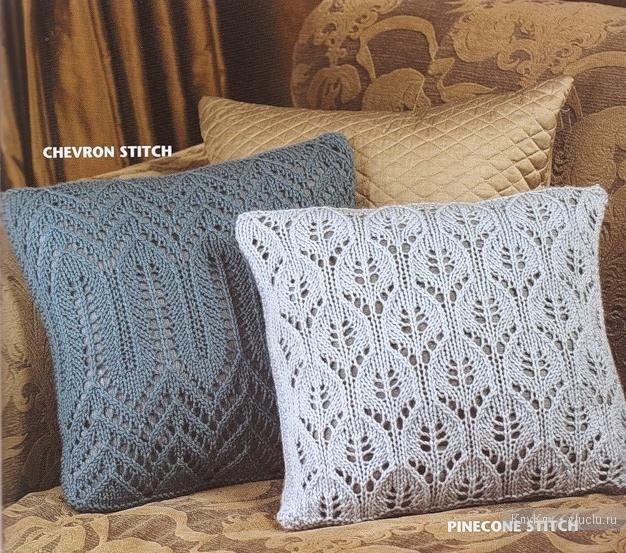 Ажурные вязаные подушки, схемы