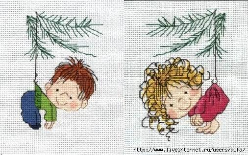 Схема вышивки крестом деток