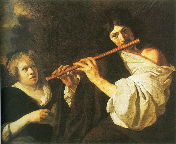 Man playing flute with a woman (700x572, 121Kb)