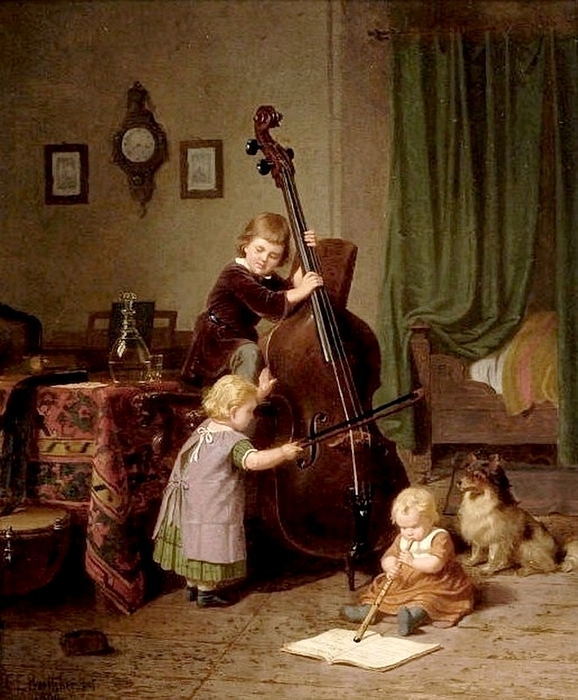 Christian Eduard Böttcher-The music lesson 1860 (578x700, 308Kb)