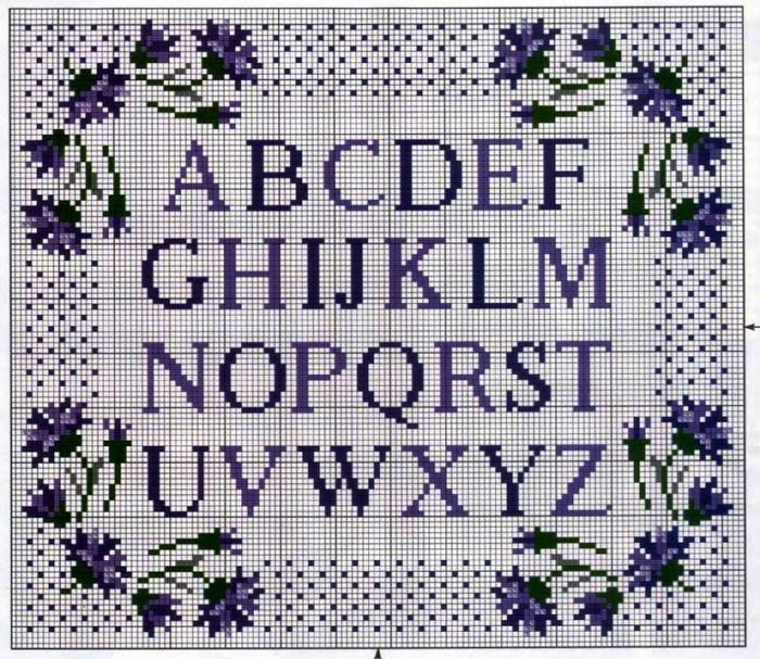 Вышивка английских букв крестом