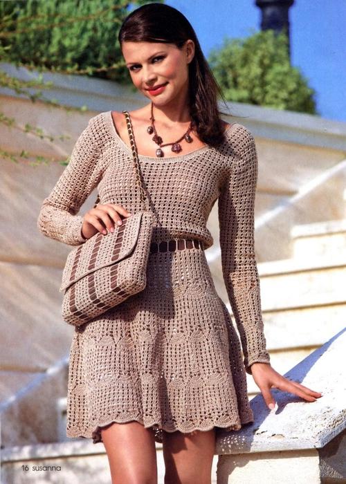 вязание платья крючком схемы