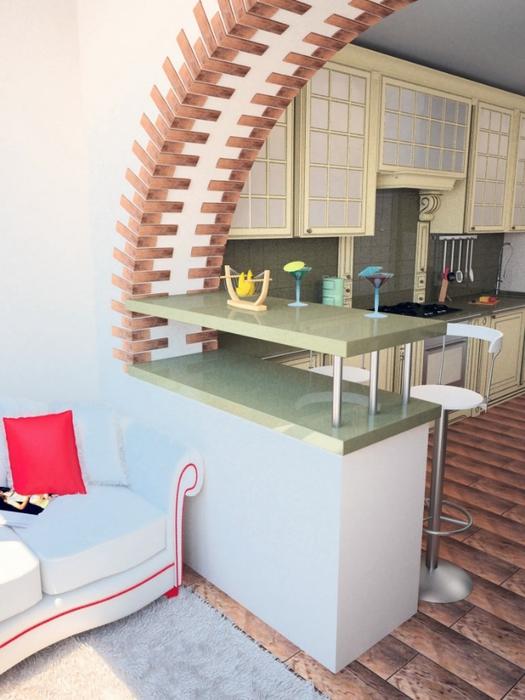 Дизайн соединение балкона с кухней.