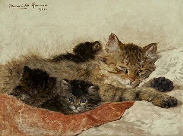 Henriëtte Ronner-KnipDozing Cat with Her Kittens1903 (625x463, 53Kb)