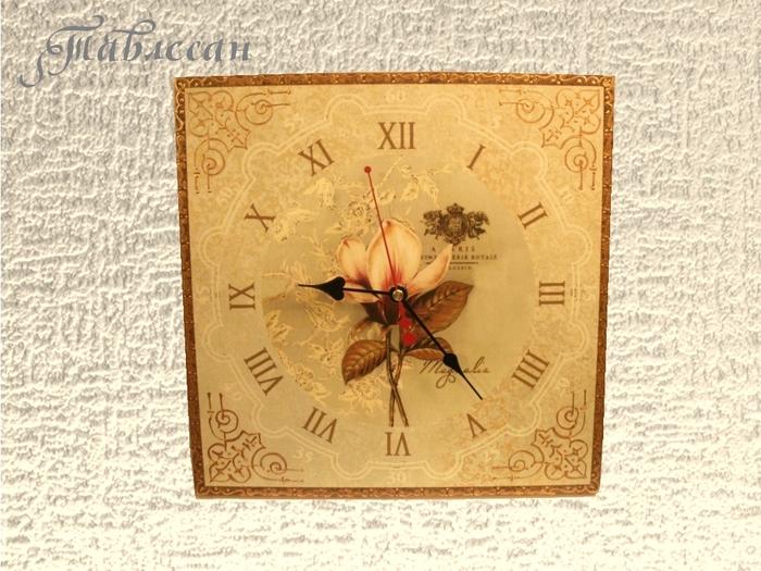 Квадратные часы декупаж