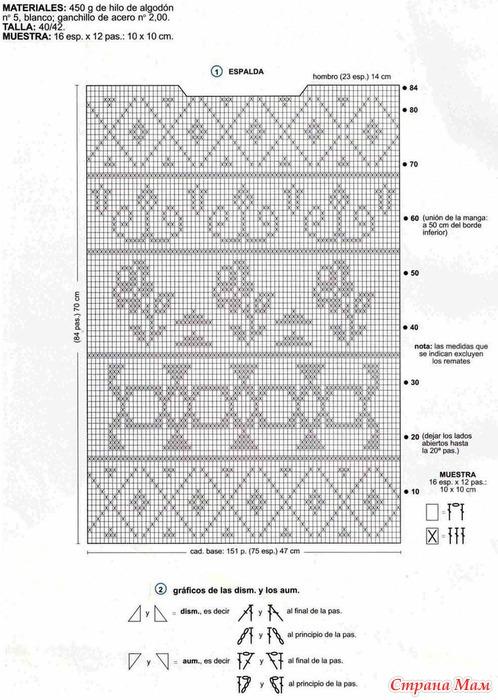 Филейное Вязание Блузки Схемы