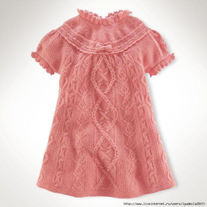 Розовые платья для девочек спицами
