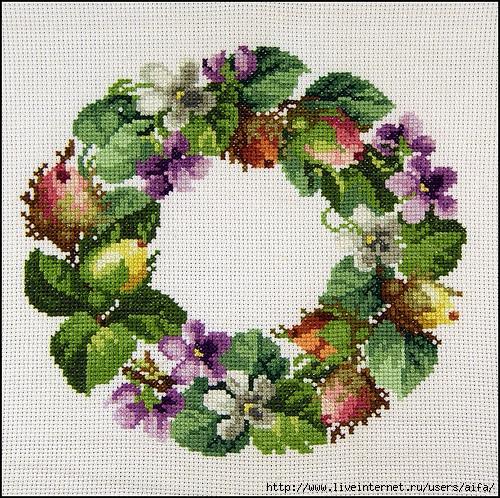 Венок цветочный вышивка
