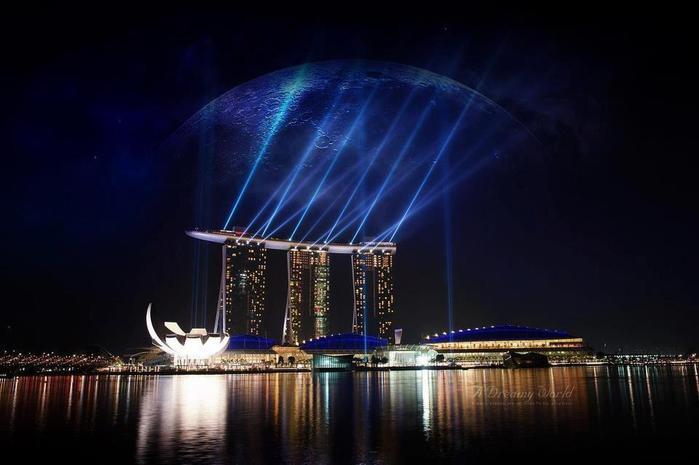 Сингапур ночью (700x465, 35Kb)
