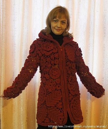 Вязание пальто ирландским кружевом 64