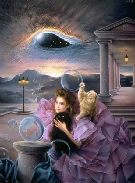 Девушки и кошки.