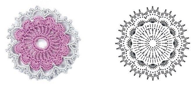 Схемы цветы крючок