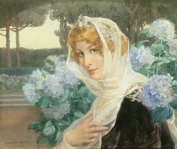 Elizabeth Sonrel (French, 1874-1953), Jeune femme aux hortensians (700x586, 343Kb)