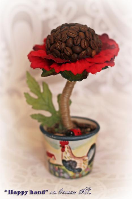 Цветок своими руками из кофе 244