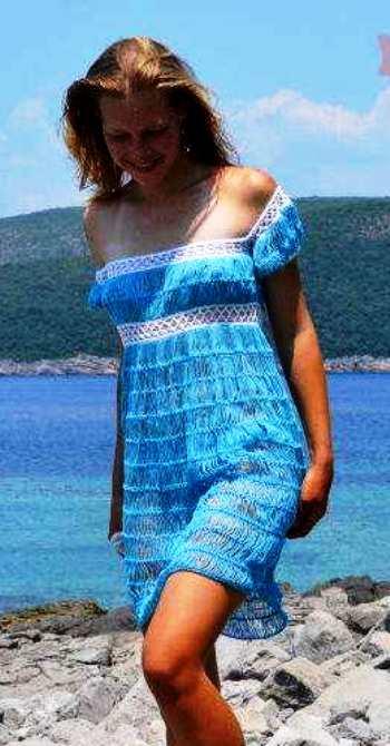 Вязание на вилке: Пляжное платье
