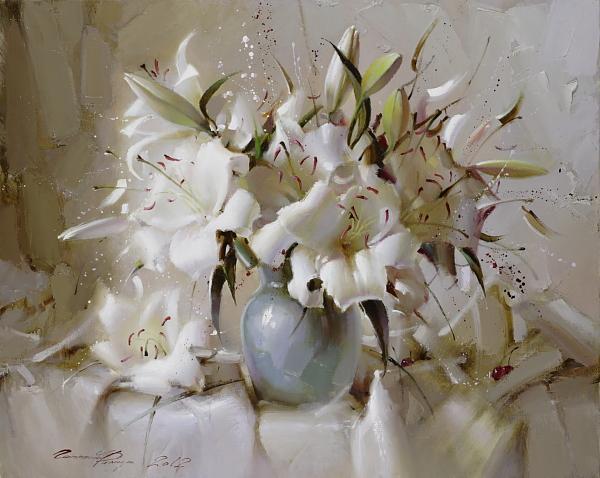 Натюрморт с белыми лилиями (600x478, 44Kb)