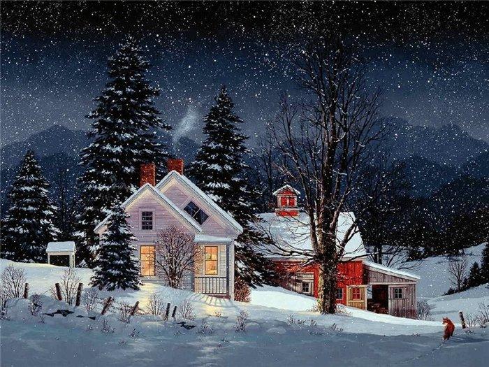 """Схема вышивки  """"Зимняя ночь """" ."""