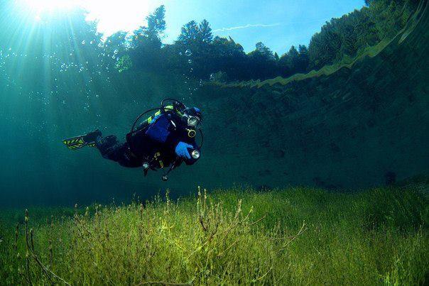 Водолаз плавает в кристально чистом озере Sameranger в Тироле, Австрия. Фотография была сделана на глубине 3 м (604x403, 46Kb)