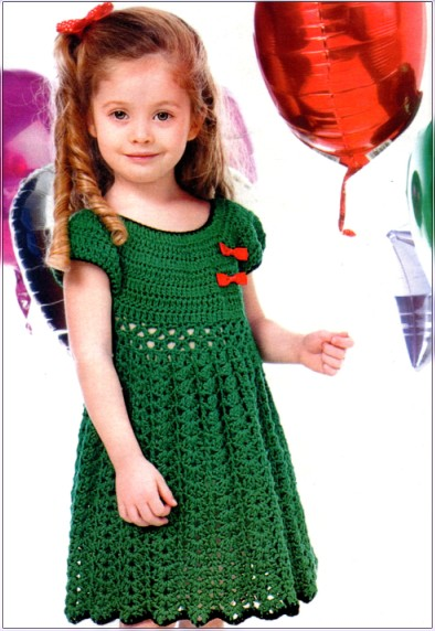 Схема вязания платья для девочки цветочная поляна