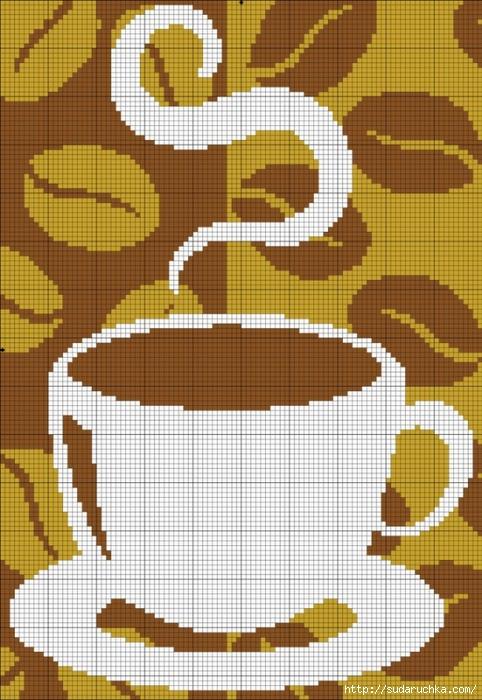 Чашки кофе.  Вышивка крестом.Монохром.