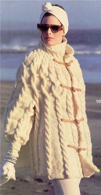Спицы белое пальто