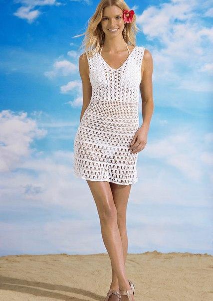 Пляжная платье вязанное крючком
