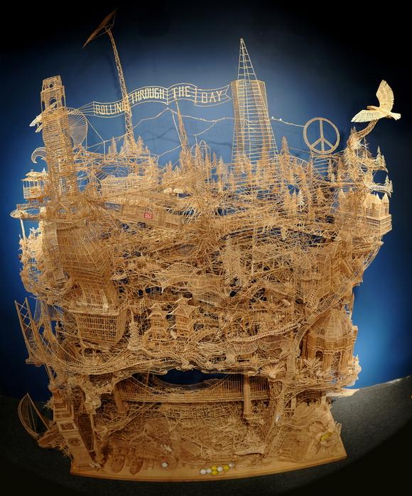 скульптура из зубочисток фото (580x700, 454Kb)