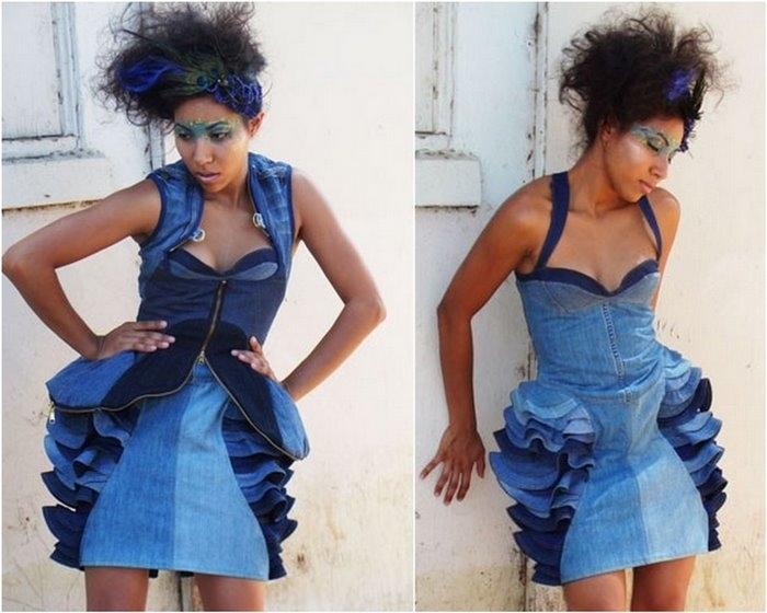 Платье своими руками из джинсов 83