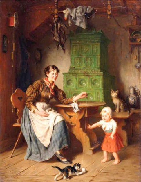 interior-with-mother-child-and-kittens (486x626, 51Kb)