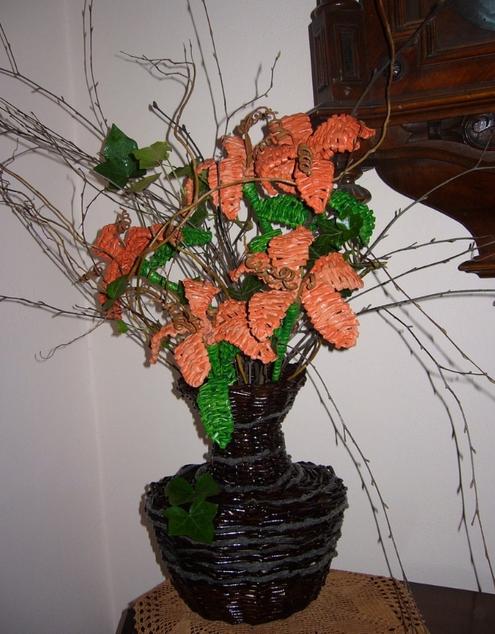 плетение из газет цветы (2) (495x634, 633Kb)