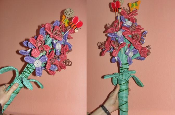плетение из газет цветы (7) (672x443, 549Kb)