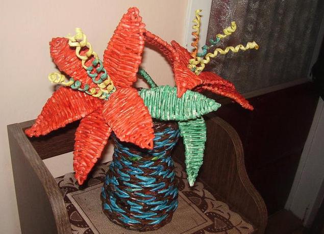 плетение из газет цветы (15) (635x459, 559Kb)