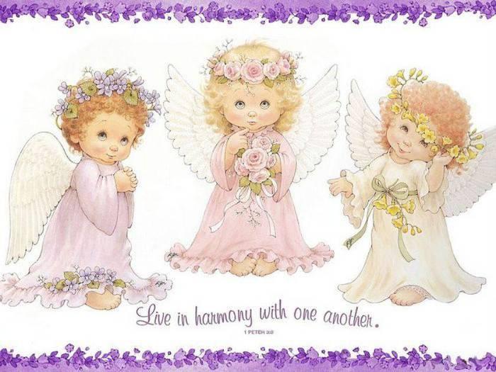 Схема для вышивки мотива - три ангелочка.  В работе используются нити розовых, бежевых и серых оттенков, канва белого...