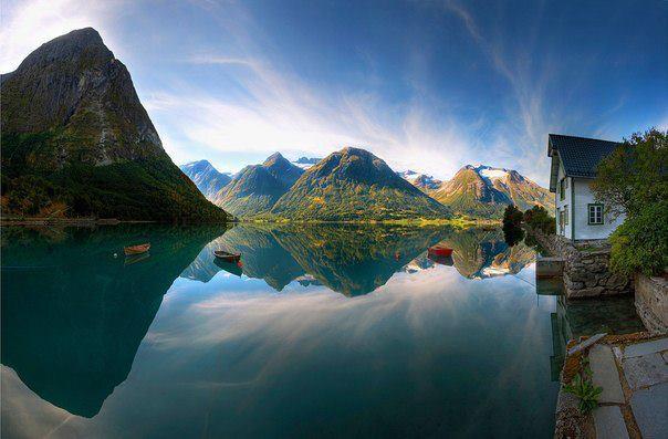 Деревня Хьелле, озеро Стрюнефатнет, Норвегия (604x397, 40Kb)