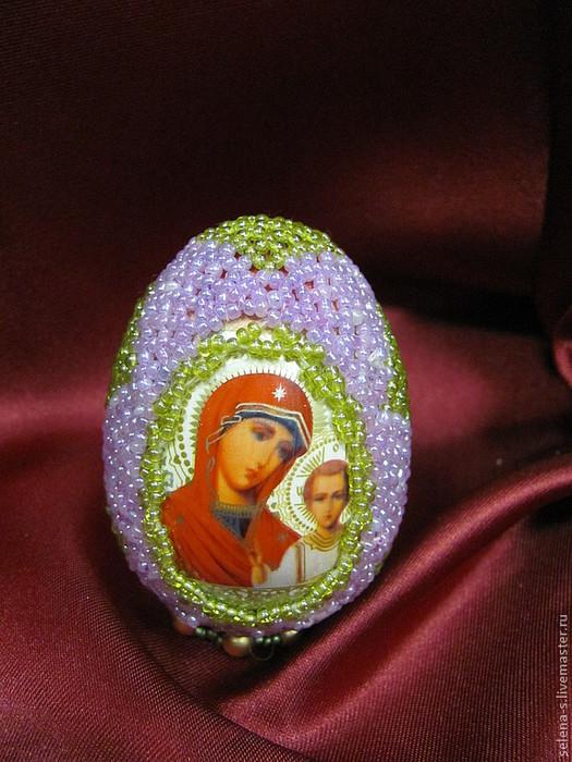 бисером вокруг лика.  К такому подарку не останется...  Пасхальное яйцо. подарок. к Светлому Христову Воскресению.