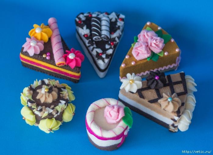 Уголок весёлой тёти: Пирожные из фетра