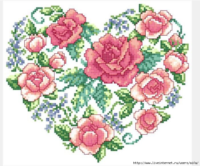 Сердце розы вышивка крестом