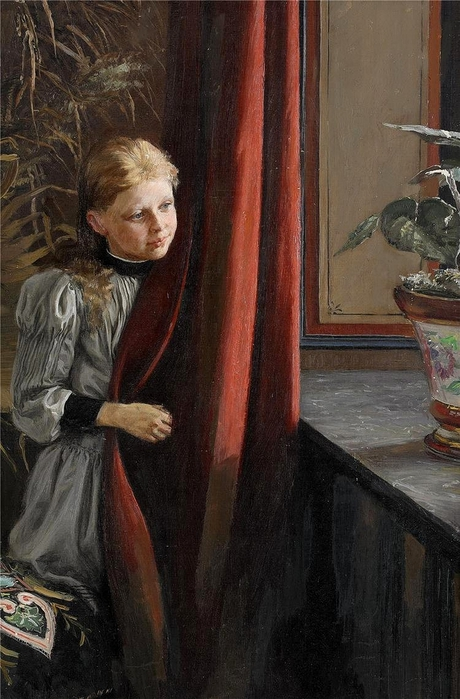 Fanny Brate (1861 - 1940).Girl At The Window (460x700, 254Kb)