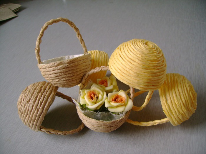 цветы и корзиночки из бумажного шпагата (9) (700x525, 87Kb)