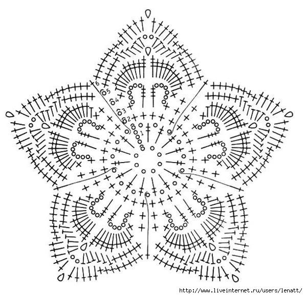 цветы крючком схема и