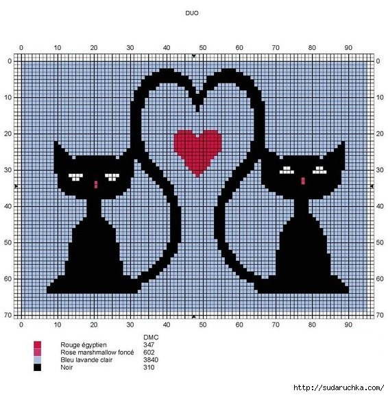 Кошачий монохром - вышивка