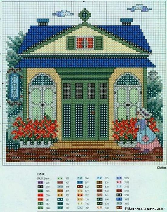 Красочные дома - вышивка