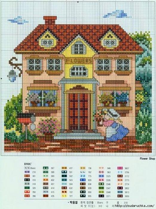 Монохромная вышивка дома