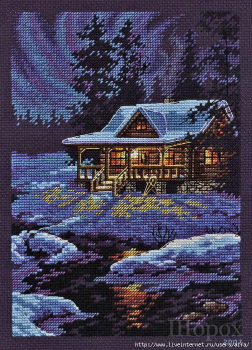 Зимний пейзаж Вышивка крестом схема.